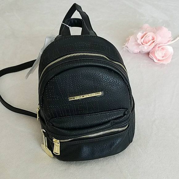 a1e8947c0407 Steve Madden Bailey Mini Black and Gold Backpack